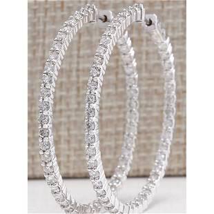 3.56 CTW Natural Diamond Hoop Earrings 18K Solid White