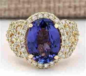 7.55 CTW Natural Tanzanite And Diamond Ring In 14k