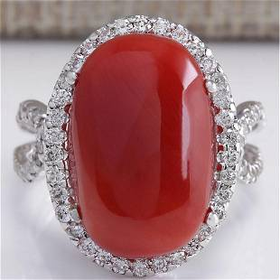 11.44CTW Natural Red Coral And Diamond Ring In 14K