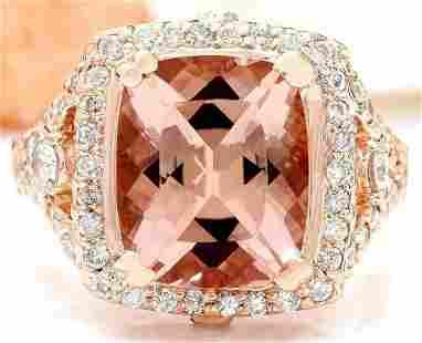 6.34 CTW Natural Morganite 14K Solid Rose Gold Diamond