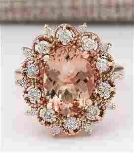 4.58 CTW Natural Morganite And Diamond Ring In 14k Rose