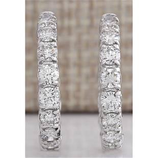 2.60 CTW Natural Diamond Hoop Earrings 18K Solid White
