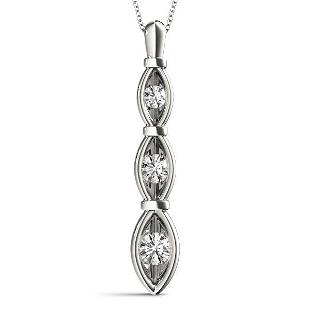 0.24 Carat Diamond Engagement 14K White Gold 3-Stone