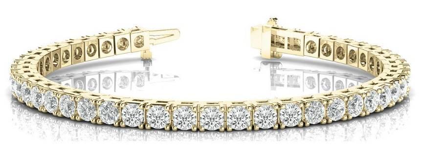 11.88 Carat Diamond Engagement 14K Yellow Gold Bracelet