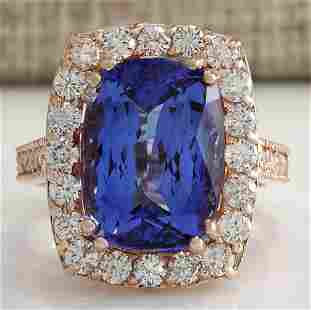 11.23 CTW Natural Blue Tanzanite And Diamond Ring In