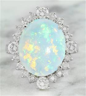 5.85 CTW Opal 14K White Gold Diamond Ring