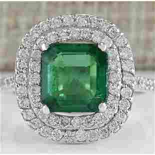 3.62 CTW Natural Emerald And Diamond Ring In 14K White