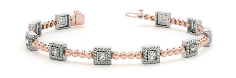 0.70 Carat Diamond Engagement 14K Rose Gold Bracelet
