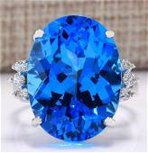 23.30 CTW Natural Topaz And Diamond Ring In 14K White
