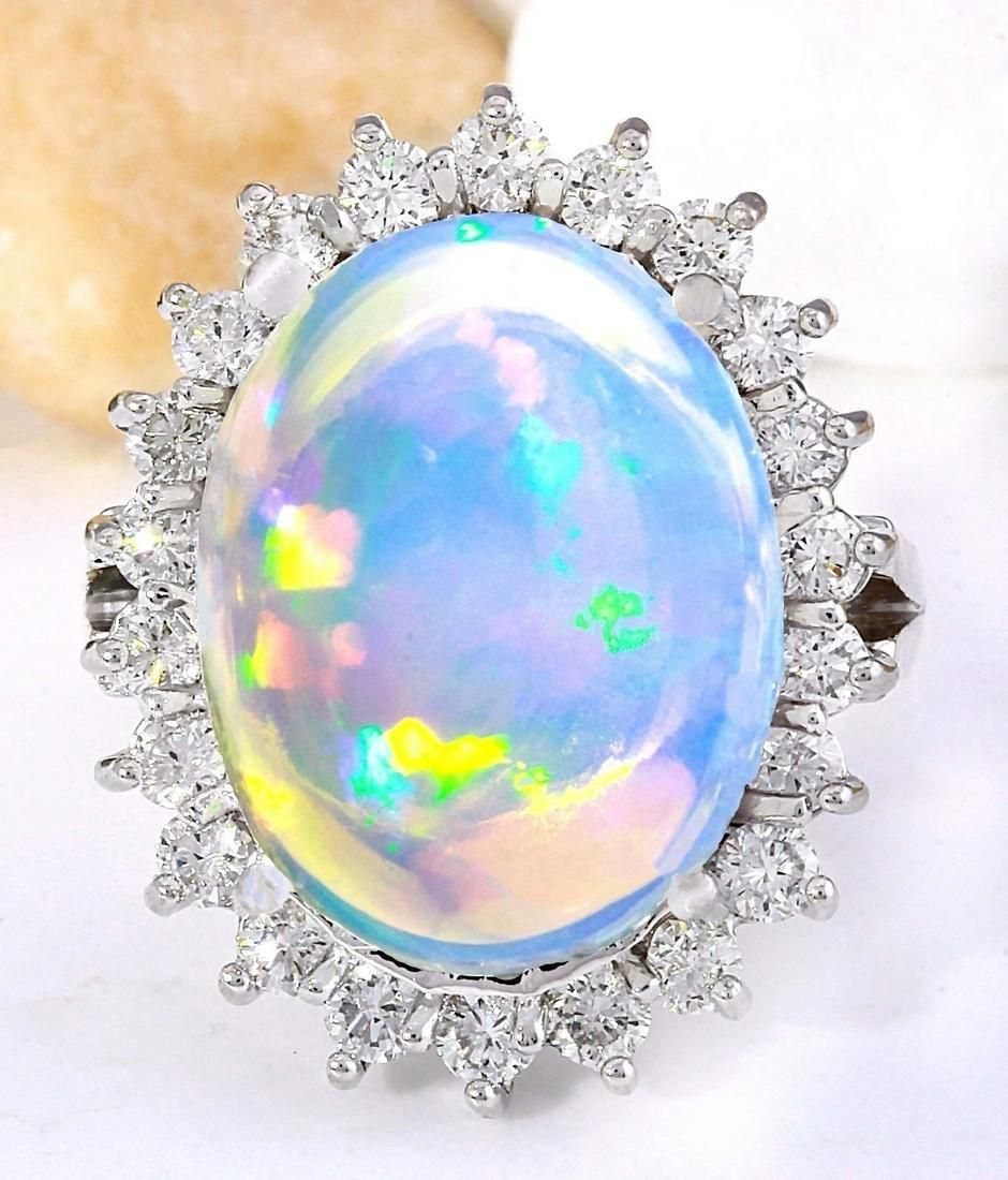 9.53 CTW Natural Opal 18K Solid White Gold Diamond Ring