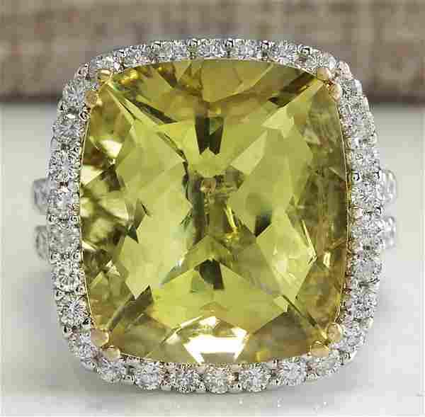 14.12 CTW Natural Lemon Quartz And Diamond Ring In14K