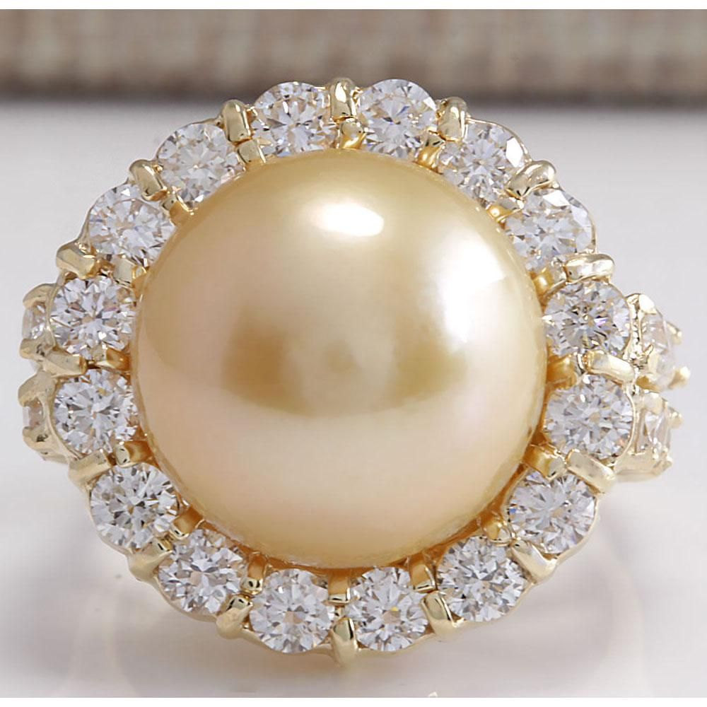 2.00 CTW Natural 13.18Mm Gold South Sea Pearl Diamond