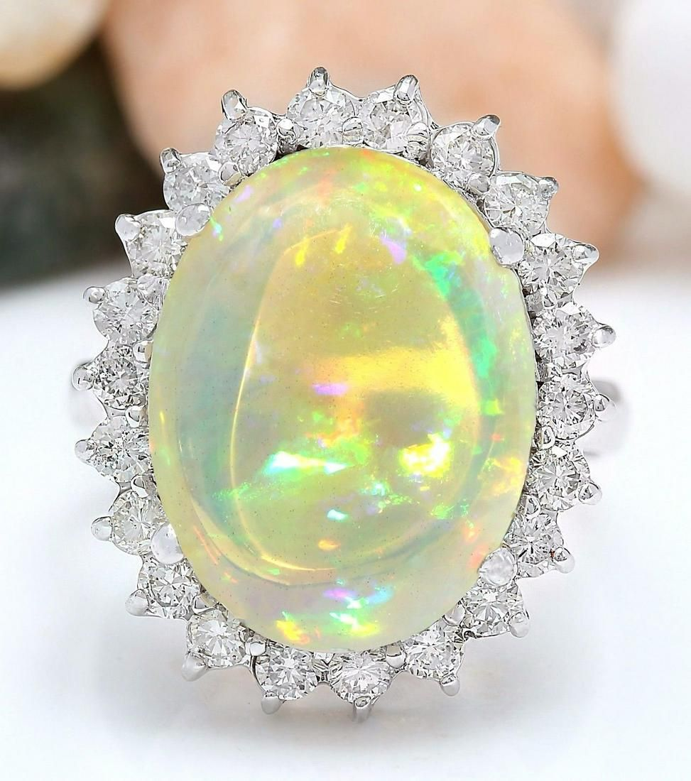 7.59 CTW Natural Opal 18K Solid White Gold Diamond Ring