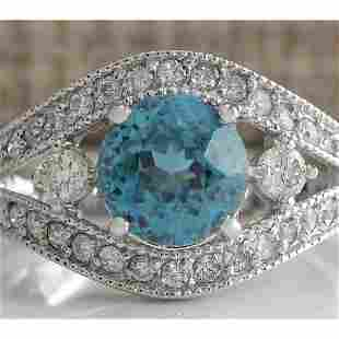 4.16 CTW Natural Blue Zircon And Diamond Ring 14K Solid
