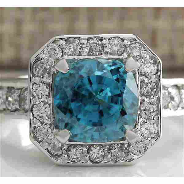 5.85 CTW Natural Blue Zircon And Diamond Ring 14K Solid