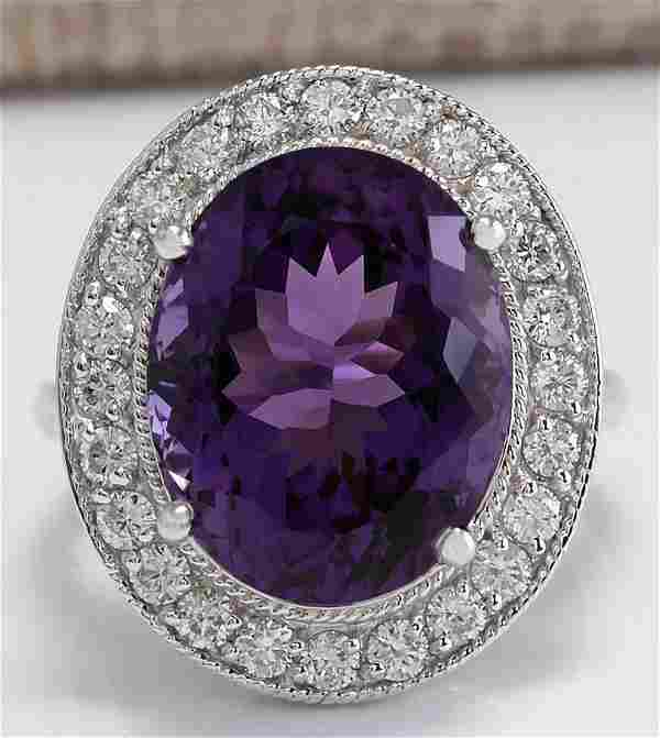 10.60 CTW Natural Amethyst And Diamond Ring In 14K