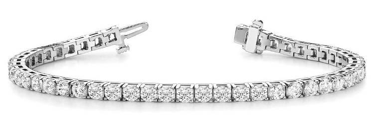 3.9 Carat Diamond Engagement 14K White Gold Bracelet