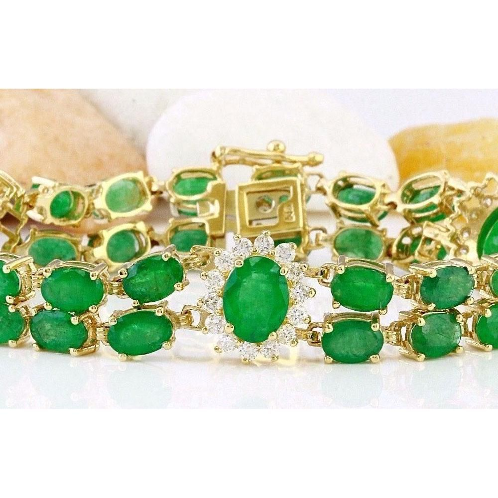 20.70 CTW Natural Emerald 14K Solid Yellow Gold Diamond