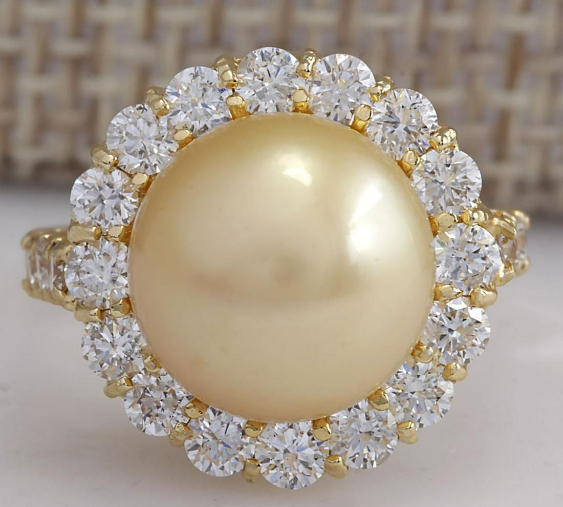 1.20 CTW Natural 10.70Mm Gold South Sea Pearl Diamond