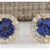 2.90CTW Natural Tanzanite And Diamond Earrings 18K