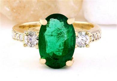 4.60 CTW Natural Emerald 18K Solid Yellow Gold Diamond