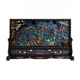 LARGE QING KINGFISHER FEATHER INLAID TABLE SCREEN
