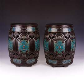 CHINESE ROSEWOOD CARVED CLOISONNE FLOWER DRUM SHAPE