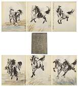CHINESE INK PAINTING ALBUM OF RUNNING STEEDS ON THE