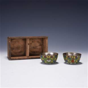 A PAIR OF CHINESE CLOISONNE ENAMEL CUPS