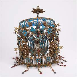 A CHINESE GILT SILVER KINGFISHER FEATHER HEAD CROWN