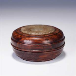 A CHINESE CARVING HARDWOOD JADE INLAID BOX AND COVER