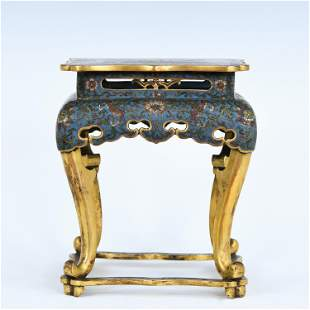A CHINESE CLOISONNE SQUARE STOOL