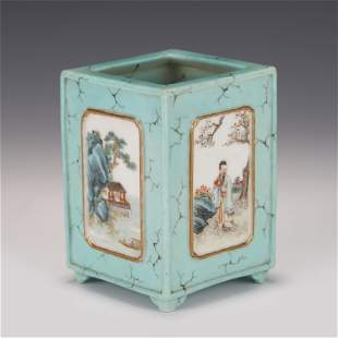 A CHINESE STONE PATTERN FAMILLE ROSE PORCELAIN SQUARE