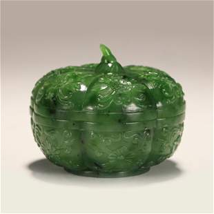 A CHINESE MELON SHAPED JASPER INCENSE CAGE