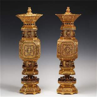 A PAIR OF CHINESE GILT BRONZE PALACE LANTERNS
