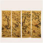 A SET OF FOUR CHINESE KESI EMBROIDERY FLOWERS & BIRDS