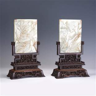 QING PAIR OF CHINESE CARVED JADE TABLE SCREENS
