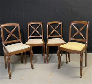 Set of 4 French Country Mahogany Dining Chairs