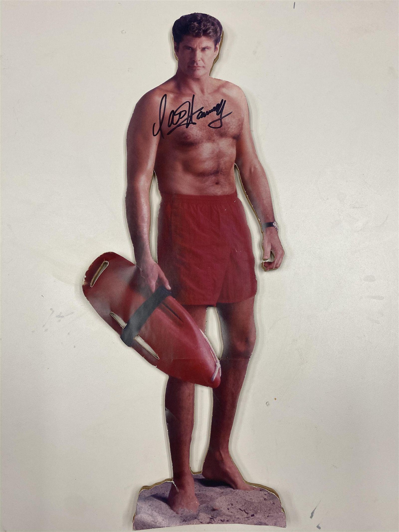"20"" DAVID HASSELHOFF AUTOGRAPHED CARDBOARD STANDEE"