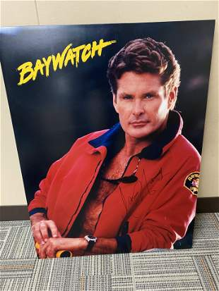 "24"" X 32"" BAYWATCH AUTOGRAPHED POSTER OF DAVID"