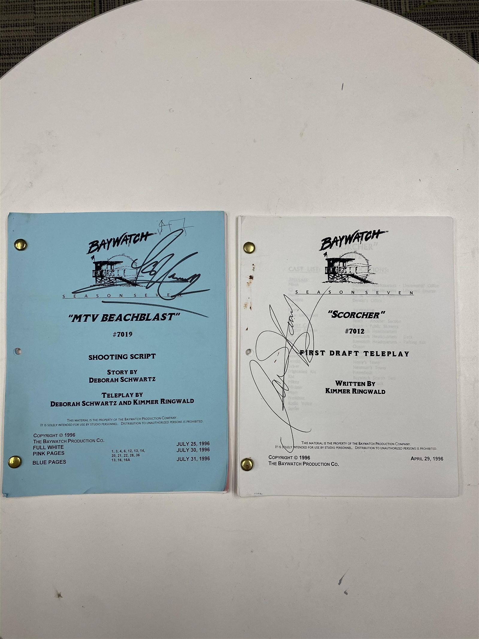 HASSELHOFF AUTOGRAPHED BAYWATCH SEASON 7 TELEPLAY