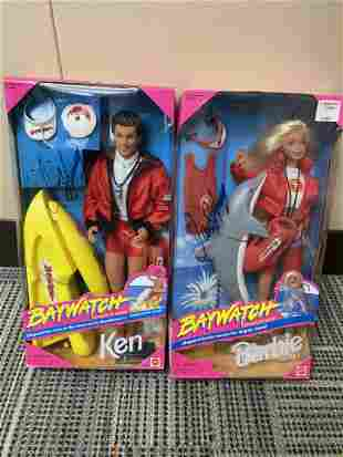 AUTOGRAPHED BAYWATCH MATTEL BARBIE AND KEN DOLLS