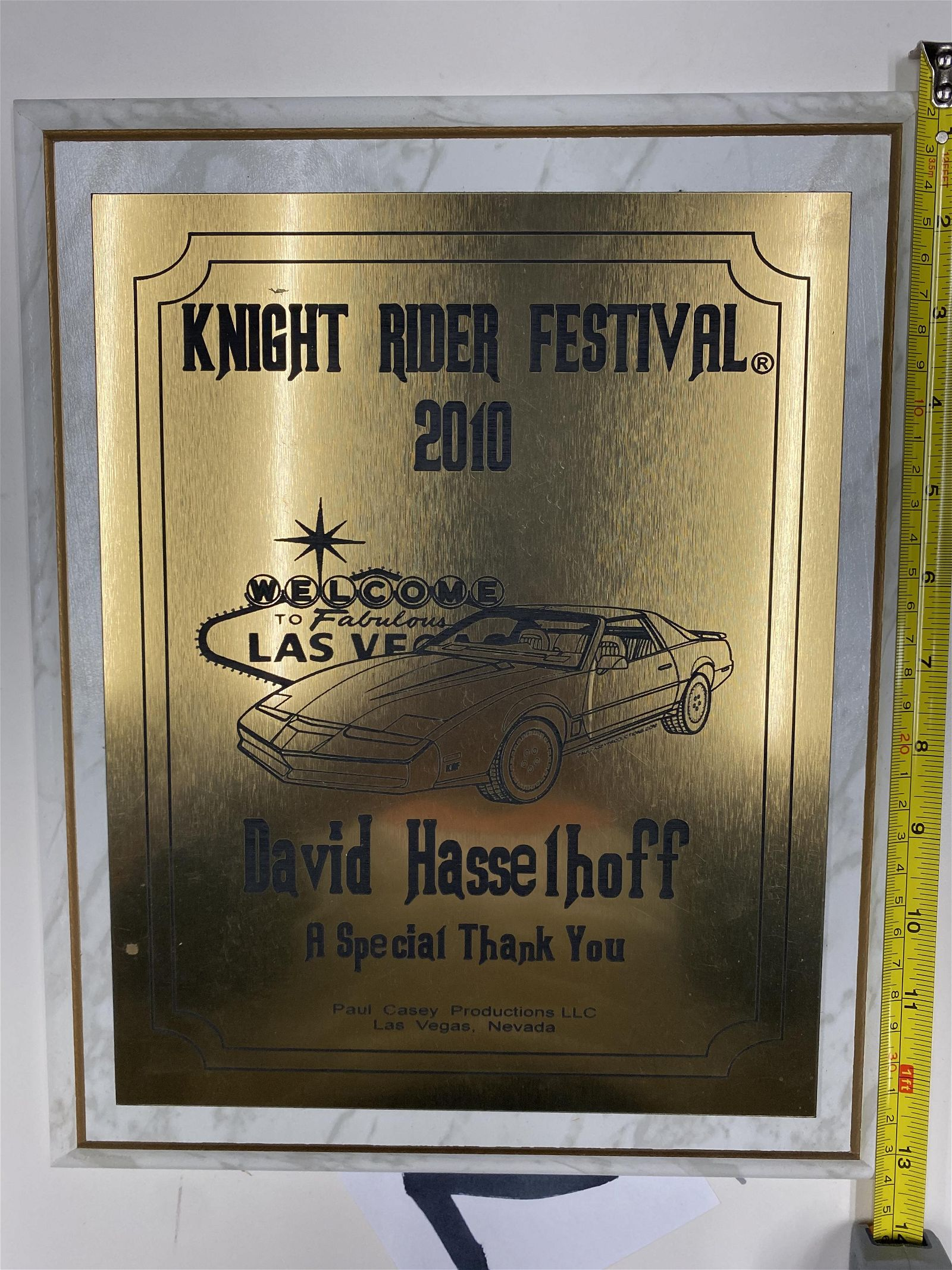 2010 KNIGHT RIDER FESTIVAL THANK YOU PLAQUE