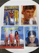 LOT OF 4 AUTOGRAPHED HASSELHOFF ITEMS MAGS, BOOKS,