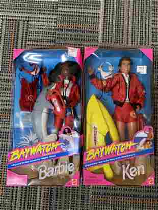 OT OF TWO MATTEL BAYWATCH BARBIE & KEN DOLL TOYS