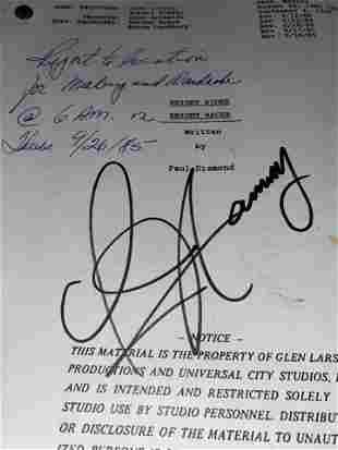 ORIGINAL 1985 KNIGHT RIDER SCRIPT AUTOGRAPHED BY DAVID