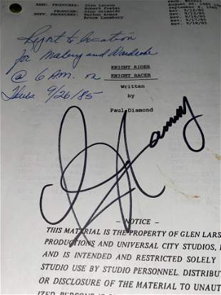 ORIGINAL 1985 KNIGHT RIDER SCRIPT AUTOGRAPHED BY DAVID