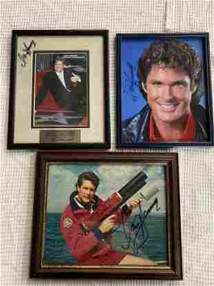 THE HOFF LOT OF THREE SIGNED PHOTOS