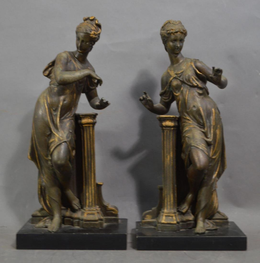 PAIR OF LARGE BRONZE PATINATED VICTORIAN STATUES OF