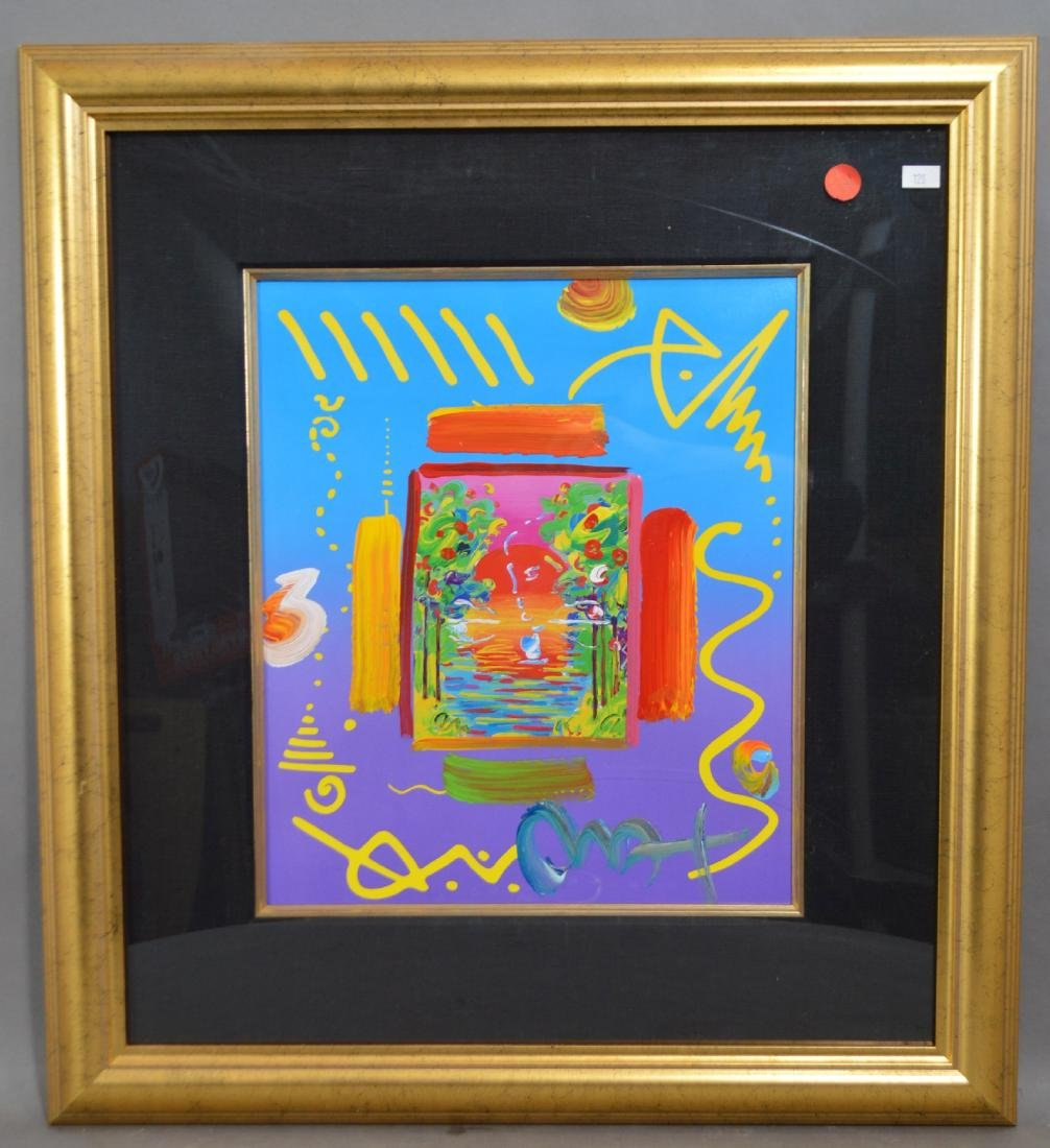 "SIGNED PETER MAX PRINT WITH COA 23.5"" X 21.5"" TOTAL"